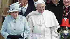 Britain's Queen Elizabeth and Pope Benedict in Edinburgh, Scotland, today.