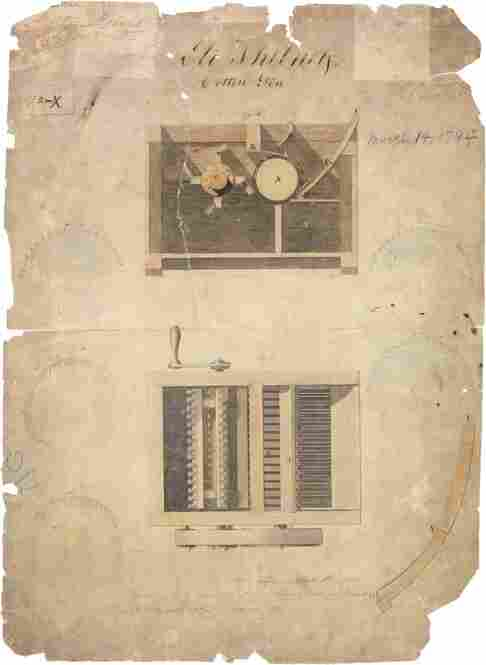 Whitney created his first cotton gin in 1793. Although a patent was issued in 1794, he was unsuccessful in stopping manufacturers in the South from copying the gin, and he ultimately made little-to-no profit.