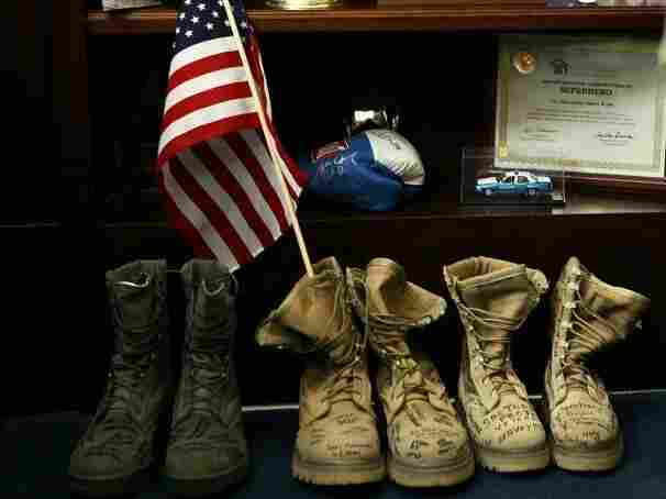 """To protest ''don't ask, don't tell,"""" veterans left their boots at Sen. Jim Webb's office Friday."""