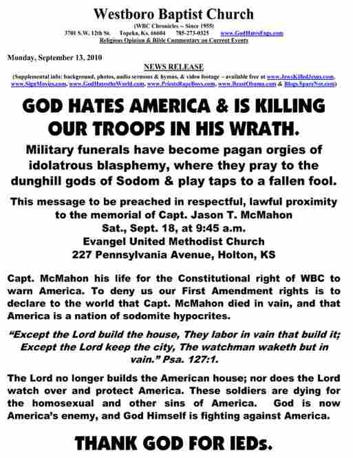 A similar press release announcing a protest at another soldier's funeral.