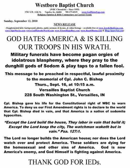 An original press release announcing a protest at a soldier's funeral.