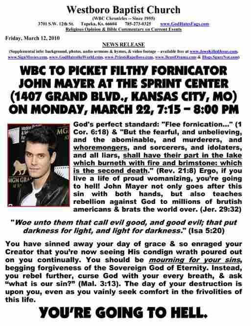 An original press release denouncing a John Mayer performance.