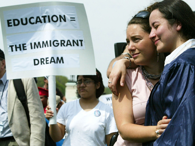 The DREAM Act has been talked about for more than a decade. At this 2004 rally in Washington, D.C., supporters held a mock graduation ceremony.