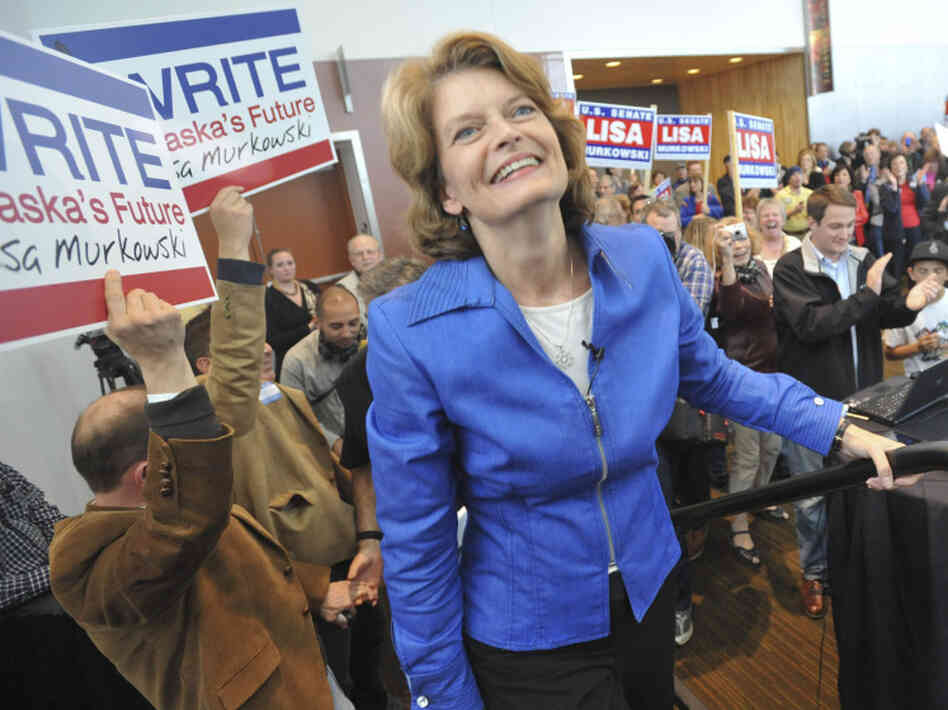 Sen. Lisa Murkowski, R-Alaska, prepares to announce her write-in candidacy; Friday, Sept. 17.