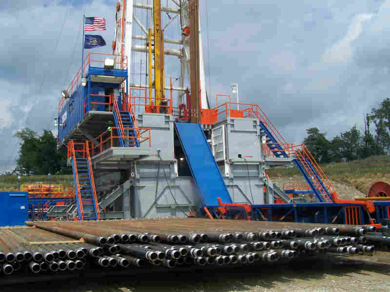 A deep drilling rig at the site of a shale rock formation in southwestern Pennsylvania