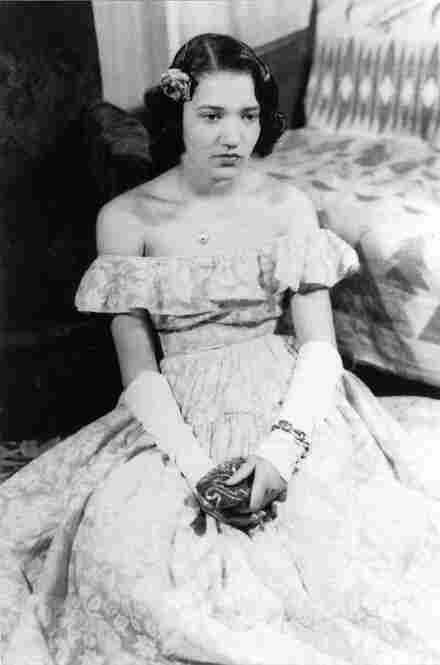 Norris' mother, pictured before a high-school dance, wearing a handmade gown.
