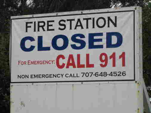 A sign outside a closed fire station in Vallejo, Calif.