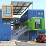A front view of the shipping container office building