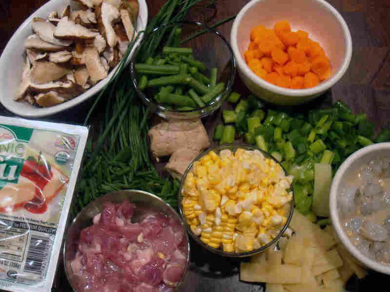 Ingredients for making Xi Shi Tofu Soup
