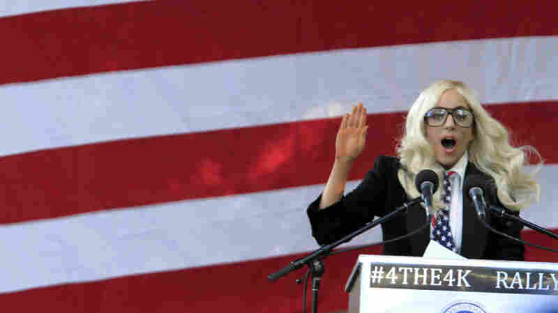 Pop singer Lady Gaga at a rally in Portland, Maine, on Sept. 20.