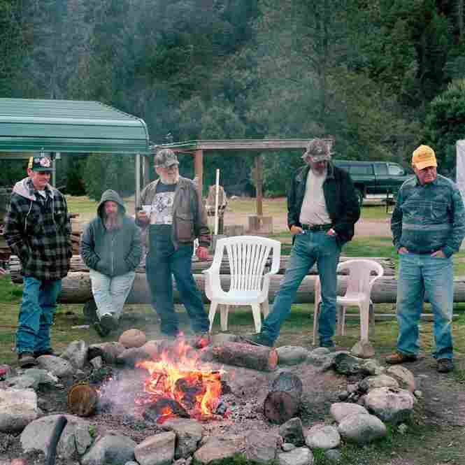 Prospectors around the campfire at the Lost Dutchman's Mining Association camp at Scotts Bar in Klamath National Forest, Calif. The Lost Dutchmen is a subgroup of the Gold Prospectors Association of America.