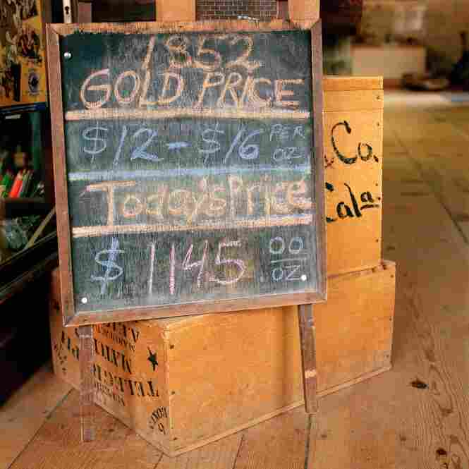 A chalkboard lists the price of gold on November 20, 2009: $1145/ounce –  as compared with the 1852 price of gold: $12-16/ounce. Updated daily, this chalkboard is located inside the Columbia History Museum in Columbia, Calif.