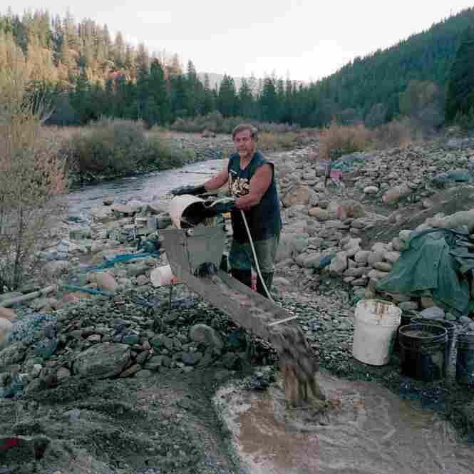 "Avery Rathburn uses his ""highbanker"" along Scott River, Klamath National Forest, Calif."