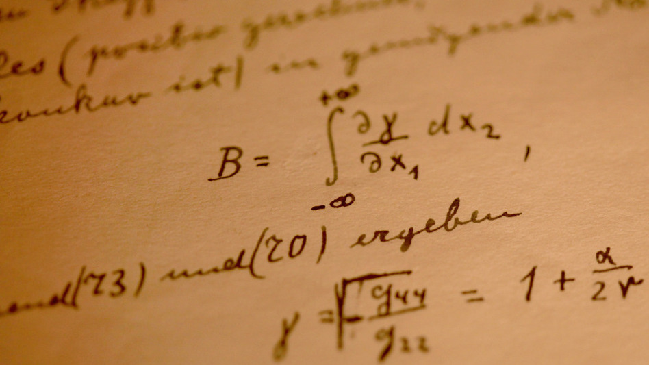 A detail from Albert Einstein's General Theory of Relativity, which was displayed at the Israeli Academy of Sciences and Humanities in March 2010. Einstein donated the 46-page handwritten manuscript to The Hebrew University of Jerusalem in 1925.