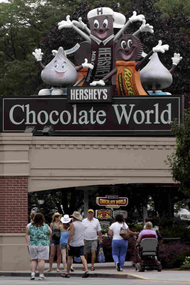 Visitors enter Hershey's Chocolate World in Hershey, Pa.