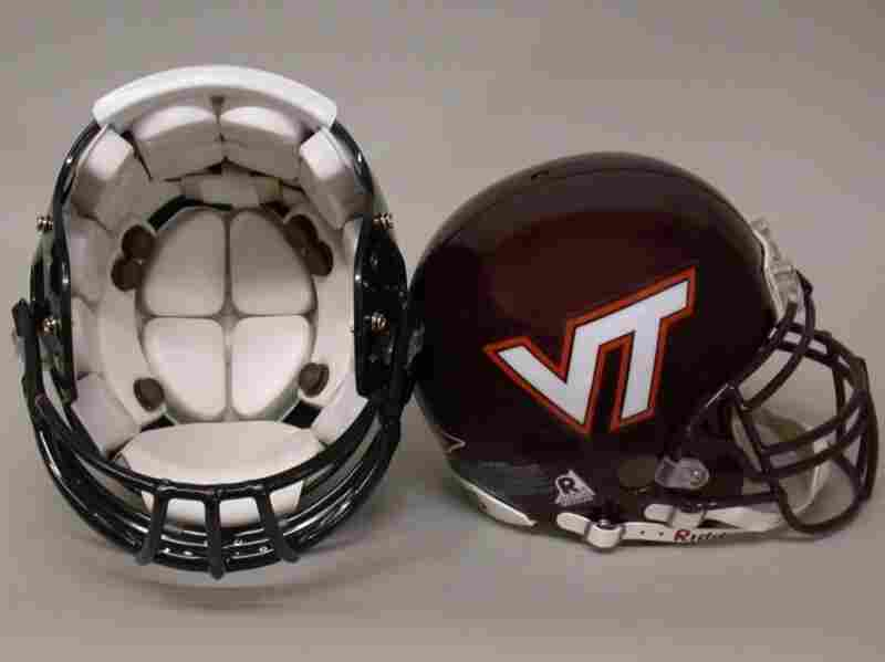 Virginia Tech football helmets outfitted with sensors that record data.
