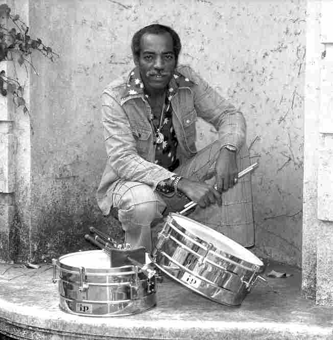 Willie Bobo photographed with timbales in San Francisco. Bobo's soul-infused recordings of the late 1960s were picked up by musicians a generation later who incorporated his music in Afro-Cuban influenced hip hop.