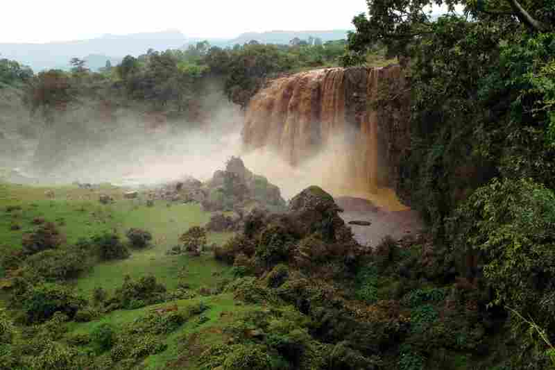 During the rainy season, Ethiopia's Blue Nile Falls looks like hot chocolate spilling over the side of a mug. The sheer force of the water carries tons of sediment down a more than 100-foot drop. The loss of soil and nutrients is damaging to Ethiopia's agricultural interests and clogs dams.