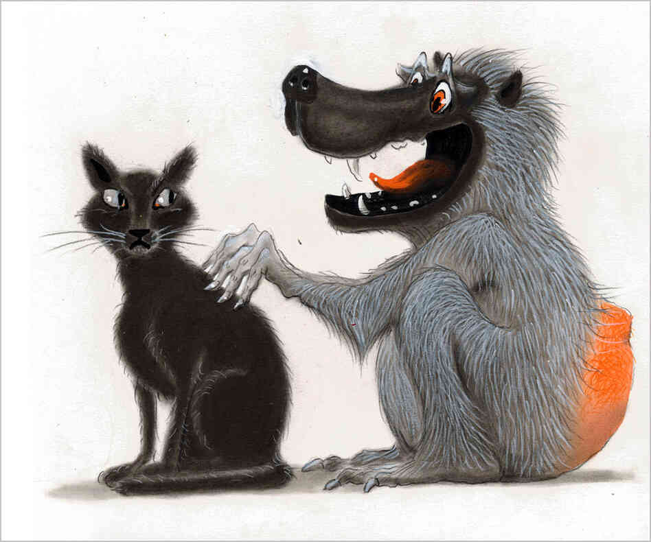 Illustration of cat and baboon.