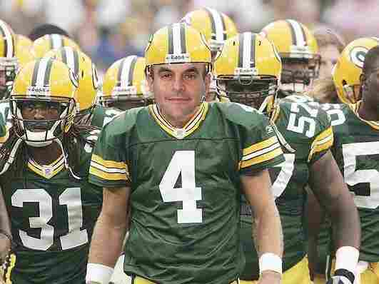 Composite image of Peter as a Green Bay Packer.