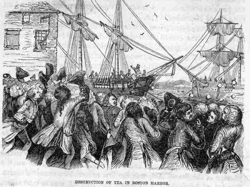 Artist's depiction of the Boston Tea Party.