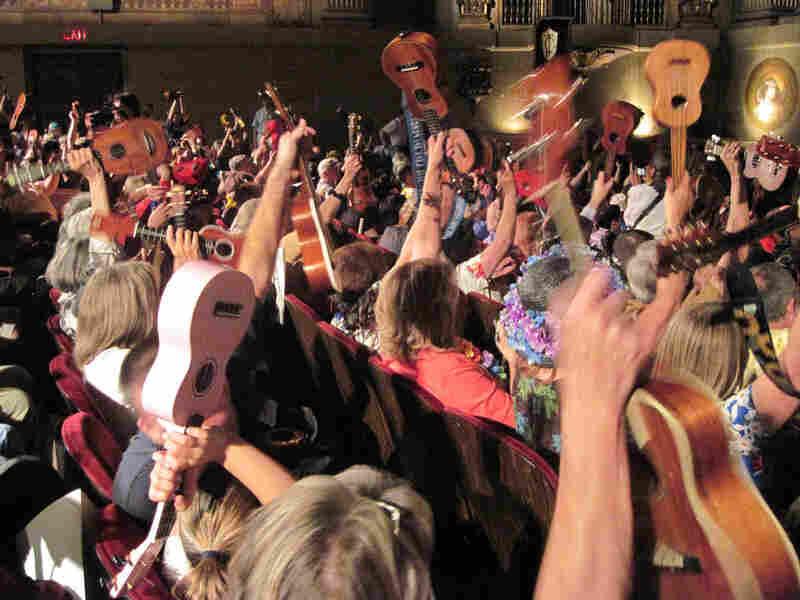 Some student ukulele players gather in San Francisco.