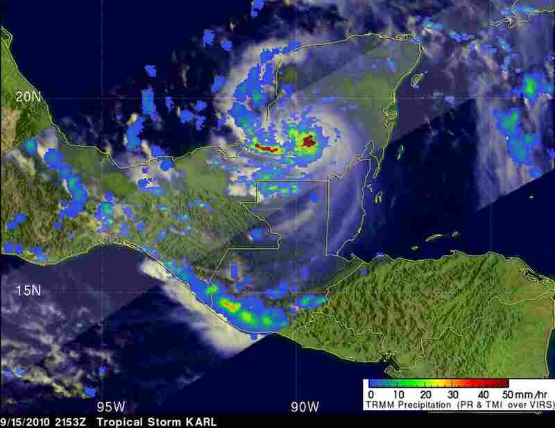 Sept. 15, 5:53 P.M. EDTAs the center of Tropical Storm Karl traverses the Yucatan Peninsula, it continues dumping rain at a rate of 2 inches per hour (dark red).Credit: NASA/SSAI, Hal Pierce