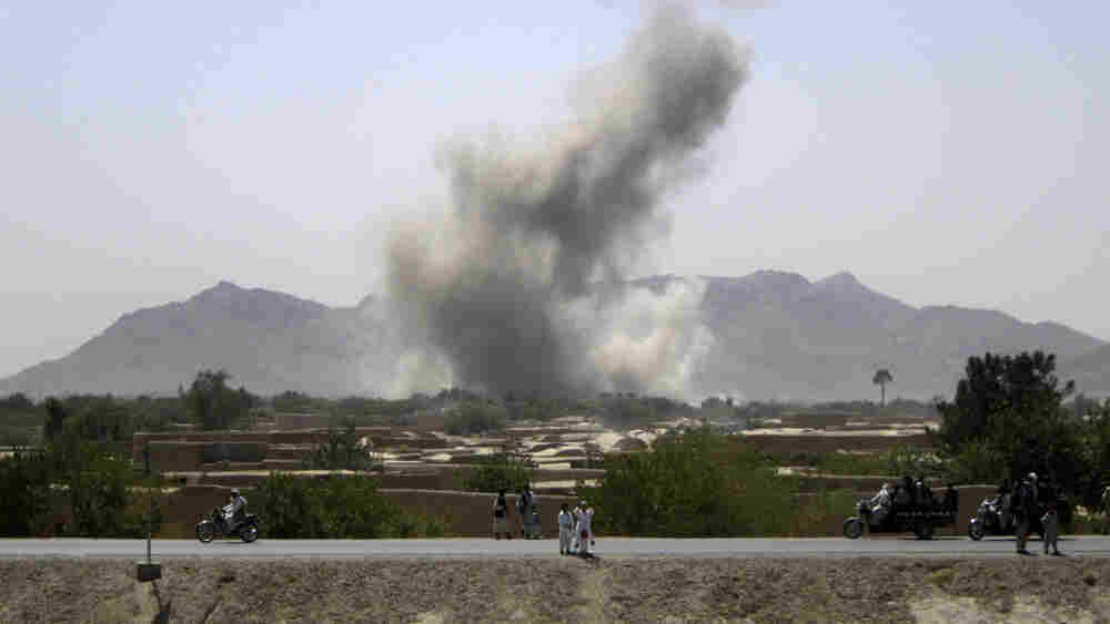 Smoke rises after NATO aircraft strike near Afghanistan's Arghandab river