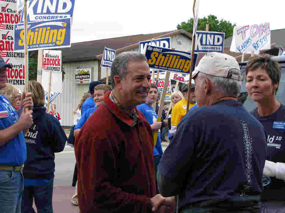 Wisconsin Democratic Sen. Russ Feingold talks with supporters.