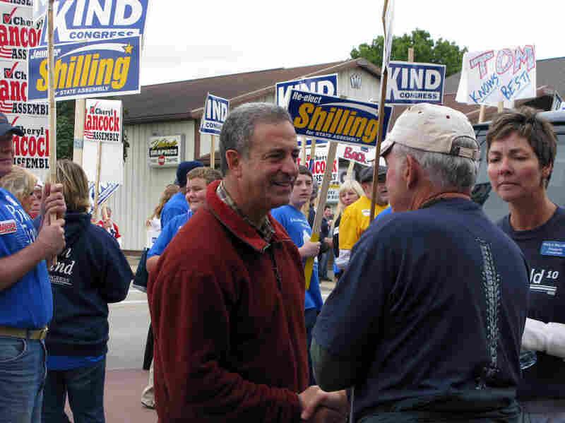 Wisconsin Democratic Sen. Russ Feingold talks with supporters.
