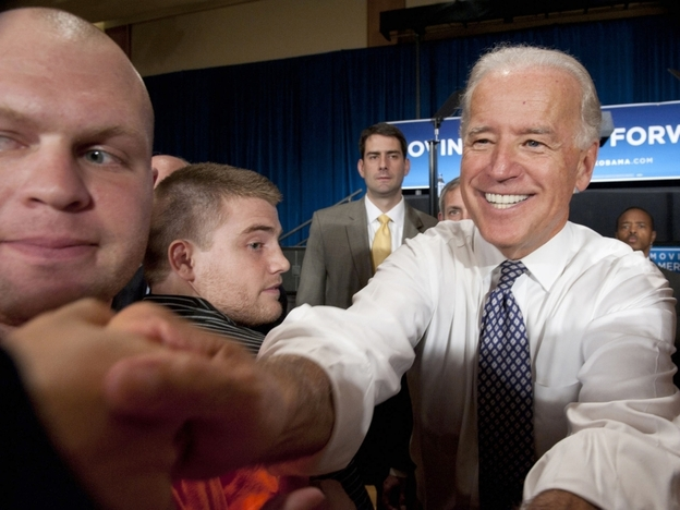 Vice President Joe  Biden greets the crowd after a rally at  Pennsylvania  State University in  State College, Pa., on Tuesday. He told students that it's critical that they vote this year.