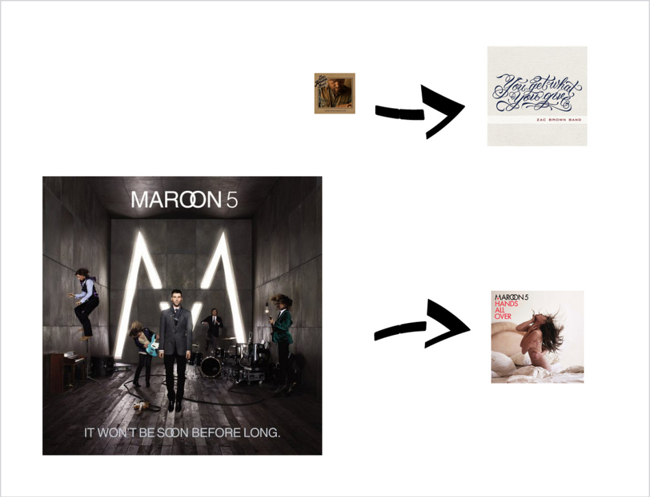 Brown vs. Maroon: The Zac Brown Band's You Get What You Give beat out Maroon 5's Hands All Over for the number one spot in Billboard album chart. (Relative album cover size directly corresponds to opening week sales. Yes, we did the math and the Photoshop.)