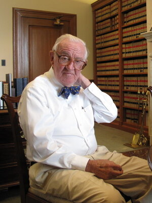 Justice John Paul Stevens in his chambers at the Supreme Court.