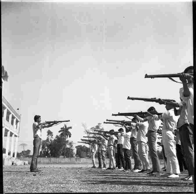 University of Dhaka students train for the Liberation War, 1970