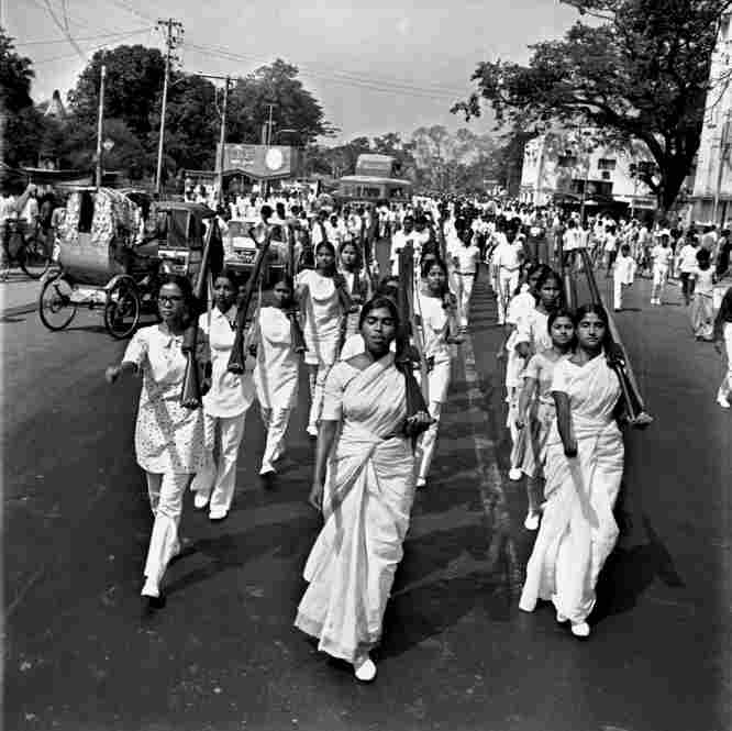 A procession of students march in Dhaka, during the non-cooperation movement in East Pakistan (now Bangladesh), 1970