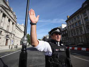 Suspect vehicle closes Whitehall as U.K. terrorism threat is heightened.