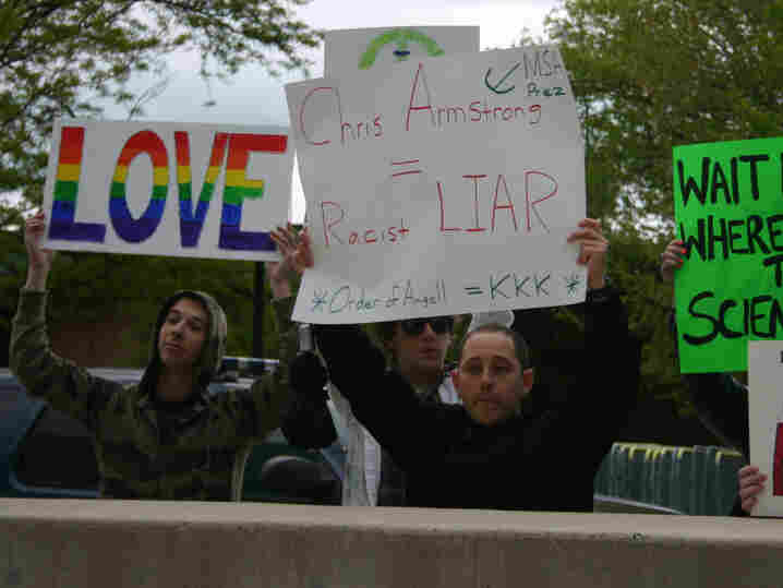 Andrew Shirvell protesting against Chris Armstrong