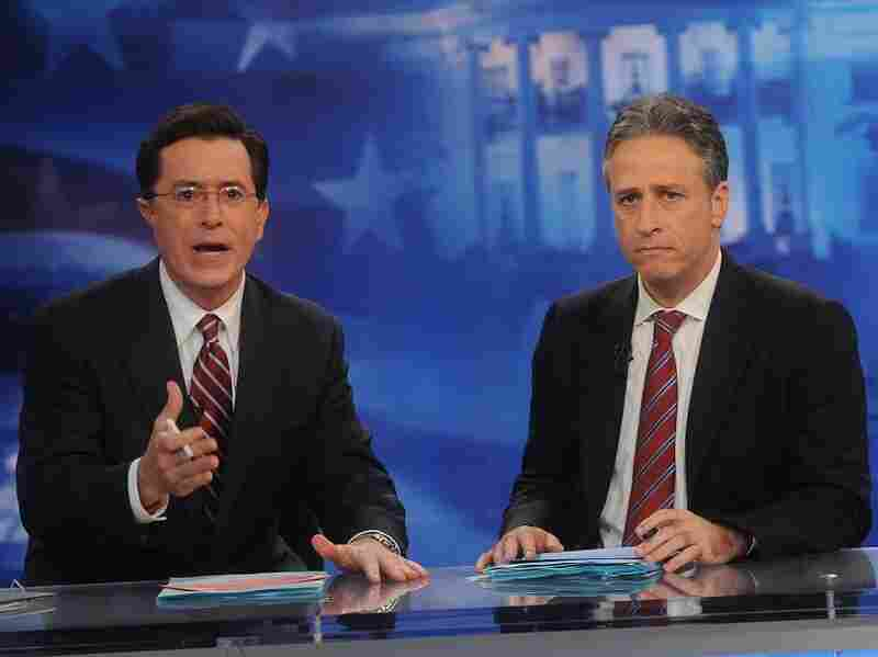 Comedians Stephen Colbert and Jon Stewart