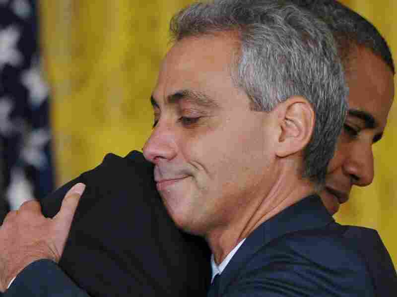 President Obama and outgoing chief of staff Rahm Emanuel at the White House