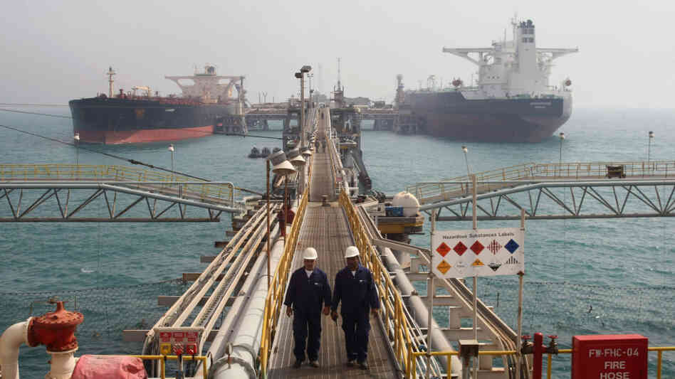Oil tankers are anchored at Basra harbor 340 miles south of Baghdad in February