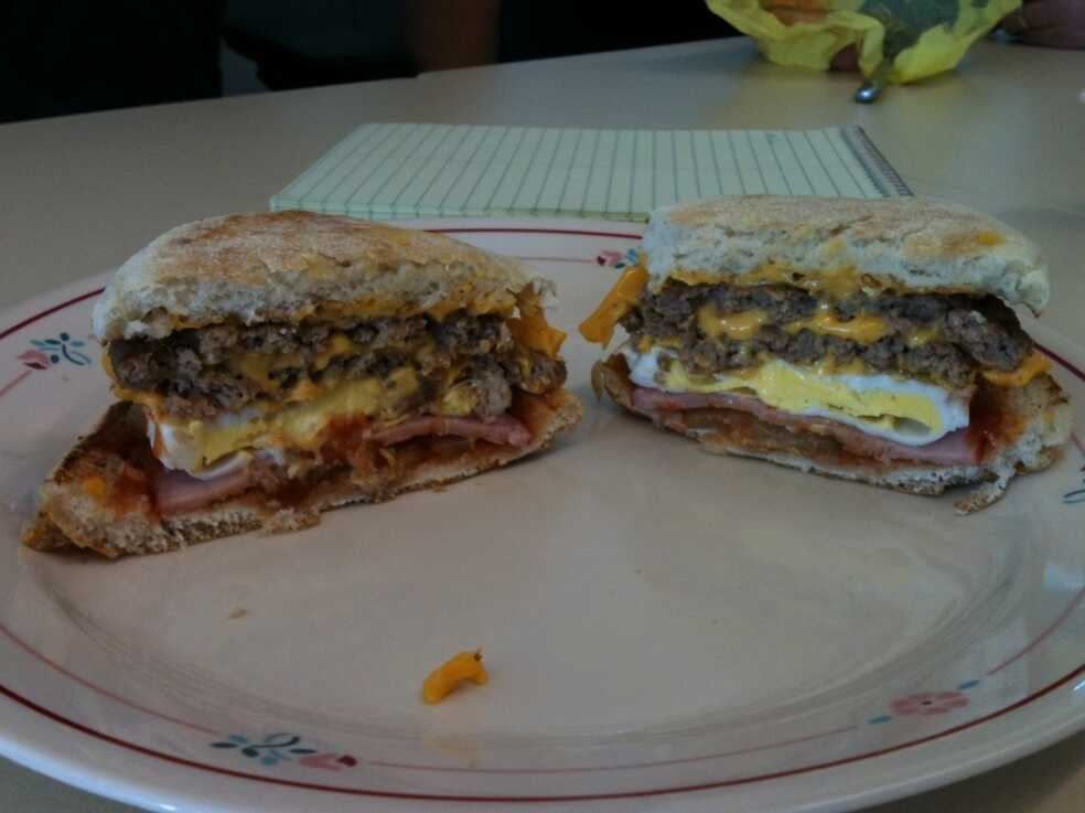 Cross section of the sandwich.