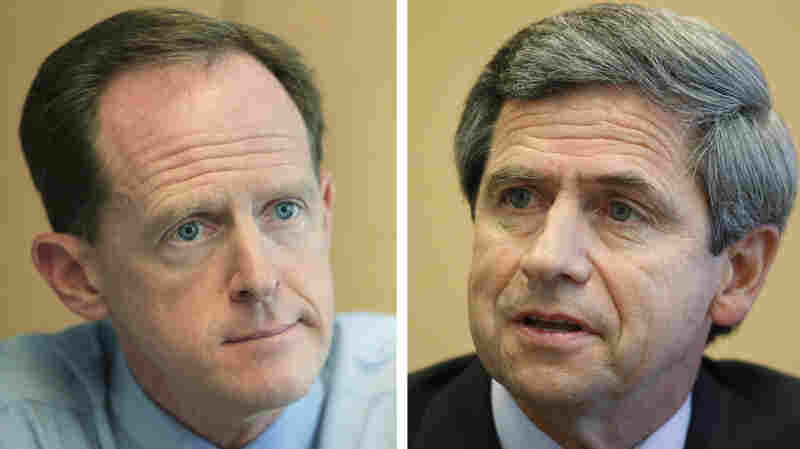 Republican Pat Toomey (L), Democrat Joe Sestak, candidates for Senate in PA.