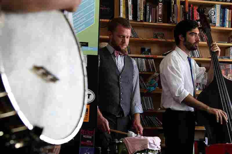 Members of Abigail Washburn's backing band play behind Bob Boilen's desk.  September 22, 2010