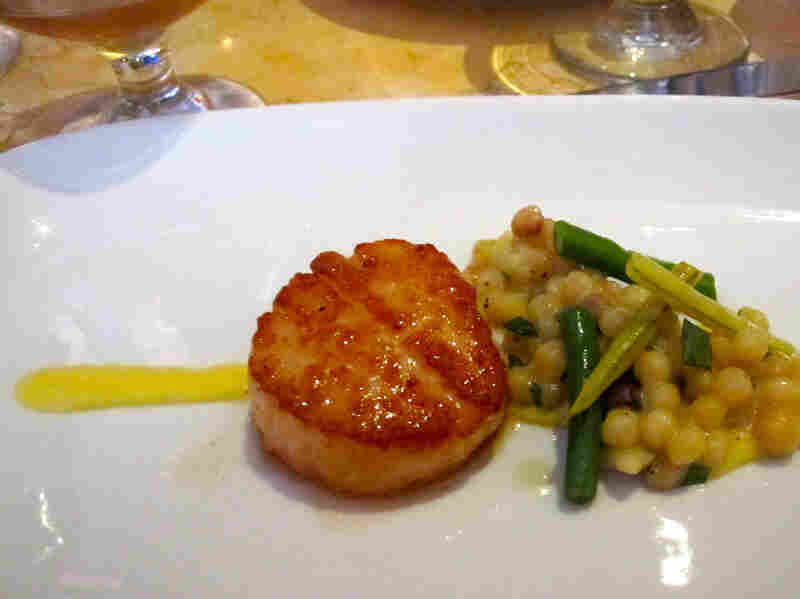 Scallops With Fregola And Corn