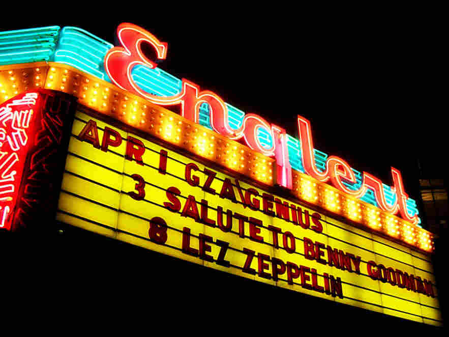The marquee at the Englert Theatre in Iowa City
