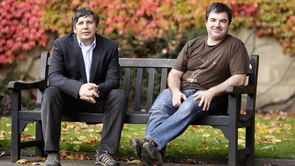 Andre Geim (left) and Konstantin Novoselov won the Nobel Prize for Physics Tuesday for their work on graphene, a sheet of carbon atoms with novel electrical, physical and chemical properties.