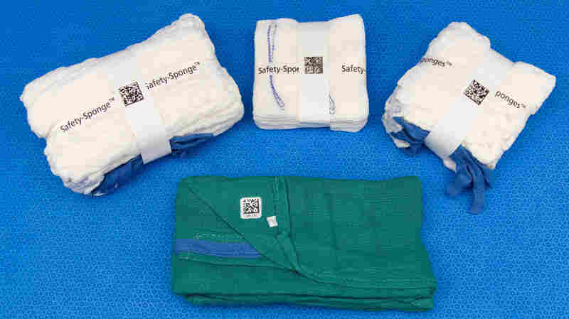Packs of surgical sponges.