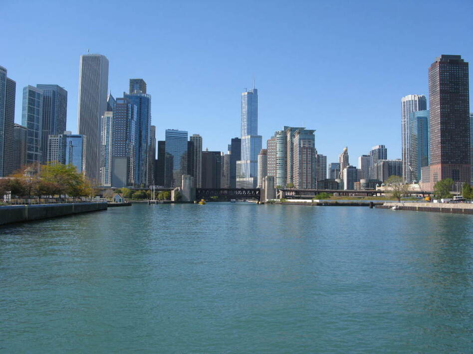 The north, south and east branches of the Chicago River meet at Wolf Point, where this view can be seen looking east from a kayak.