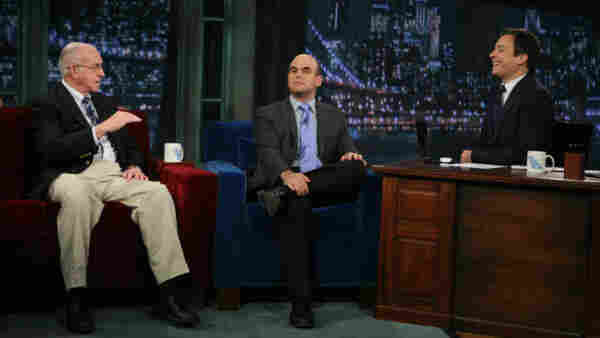 Carl Kasel and Peter Sagal with Jimmy Fallon