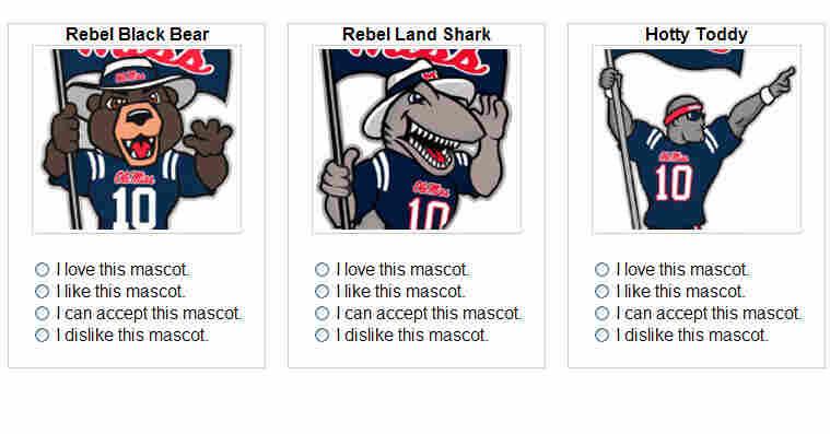mascot choices Ole Miss